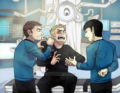 Reboot-version Bones, Kirk, and Spock. The sickbay scene was so funny! XD