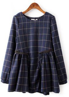 Navy Long Sleeve Plaid Pleated Loose Dress US$33.67