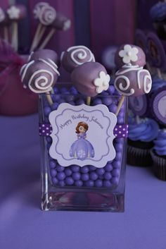 Lovely cake pops at a Sofia the First! See more party ideas at CatchMyParty.com! #partyideas #sofia