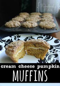 easy and delicious fall recipe for cream cheese and pumpkin muffins