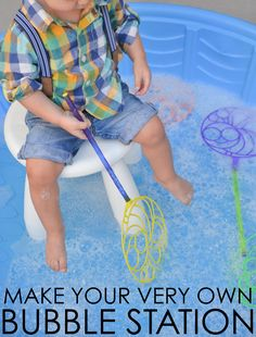 A DIY Outdoor Bubble Station 2019 Make Your Own Bubble Station love this idea for simple playtime or even an activity at a toddler party! The post A DIY Outdoor Bubble Station 2019 appeared first on Toddlers ideas. Toddler Birthday Party Games, Bubble Birthday Parties, Bubble Party, Birthday Activities, Kids Party Games, Party Activities, 2nd Birthday, Toddler Party Ideas, Block Party Games