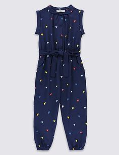 Buy the Heart Print Belted Jumpsuit Years) from Marks and Spencer's range. Dresses Kids Girl, Kids Outfits Girls, Girl Outfits, Lingerie For Sale, Girl Dress Patterns, Jumpsuit Pattern, Denim Trends, Baby Dress, Kids Fashion