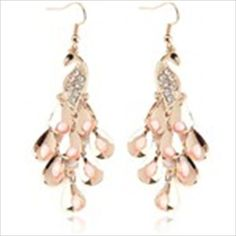Peacock Pendant Metal& Rhinestone Ear Pin Dangle Earrings Earbob Eardrop for Girl Woman Lady - Golden with Pink