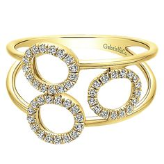 14k Yellow Gold Lusso Diamond Style  Fashion Ladies' Ring With  Diamond