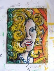 gesso  paint over magazines / pictures. love this idea to get beginners over the fear of starting portraits