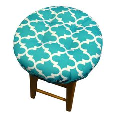 """Fulton Aqua Bar Stool Cover - This latex-foam bar stool cushion is covered in a sensationally popular quatrefoil pattern with an adjustable drawstring yoke to fit most bar stools with a 1""""-2"""" thick wooden seat.  Indoor/Outdoor & machine washable! #turquoise #quatrefoil"""