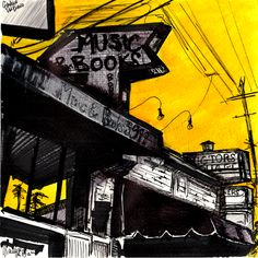 Book shop on Franklin - ink on paper by Gianluca Dal Bianco cm.  20x20