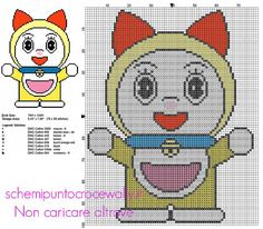 Dorami sorella di Doraemon schema punto croce cartoni animati anime