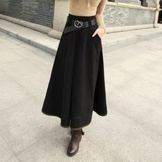 Long Wool Skirts for Women   Free Shipping! 2013 Spring Women's Artificial Wool Expansion Plus Size ...