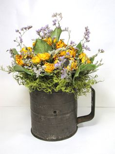Dried Flower Arrangement, Dried Flowers, Vintage Sifter, Kitchen Decor, Dried Floral, Rustic, Primitive