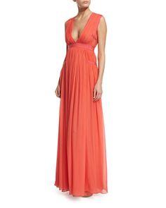 TBXEB Diane von Furstenberg Lelani Sleeveless Silk Gown, Ocean Coral
