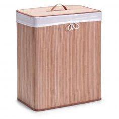 Zeller Wäschesammler, 2-fach, Bamboo/Bambus, natur, Maße: 52x32x63cm