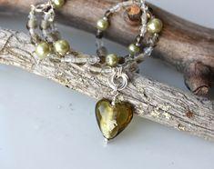 Koruna, kaulakorut, helmikorut, foliolasisydämet, käsintehdyt korut, handmadejewelry, beads, glass hearts