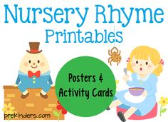 These printable nursery rhyme posters and activity cards can be used in your preschool classroom. Read the Terms of Use Nursery Rhyme Posters These posters come in color and blackline. Use for poetry books, charts, posters, Rhyming Preschool, Rhyming Activities, Preschool Classroom, Toddler Preschool, Toddler Activities, Preschool Activities, Physics Classroom, Preschool Curriculum, Preschool Printables