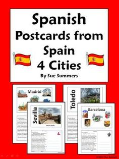 Spanish Culture Postcards from Spain by Sue Summers - Students discover the treasures of Madrid, Toledo, Barcelona, and Sevilla. The Prado, El Retiro Park, La Sagrada Familia, Park Guell, Madrid's Plaza Mayor, along with Spain's great artists such as Velazquez, Picasso, El Greco, Gaudi, Miro, and Goya are a few examples. Topics included are Spanish clothing, weather, scenery, leisure activities, food and more.