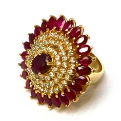 Stunning Natural Ruby And Diamond Gold Cocktail Ring - Rubies & Sapphires Gold Ring Designs, Gold Earrings Designs, Gold Jewellery Design, Gold Jewelry, Jewelery, Prom Jewelry, Antique Jewelry, Gold Finger Rings, Gold Rings