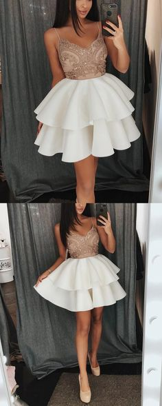 elegant champagne short prom dresses with appliques, fashion semi formal gowns  for special occasion, tiered homecoming dresses 2k18 with special lace