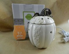New Scentsy Warmer LUMINA White Pumpkin w/ Pumpkin Roll Wax Bar  #Scentsy