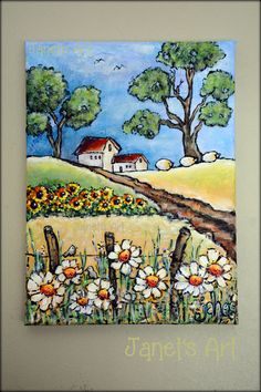 Spring time on the Farm - Acrylic on stretched canvas Janet's Art - janet1bester@gmail.com Paint And Sip, Stretched Canvas, Painting Inspiration, Spring Time, Watercolors, Art Drawings, Ideas, Watercolor Paintings, Water Colors