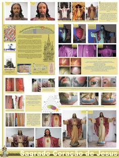 painel do restauro da imagem do Sagrado Coração de jesus  painel utilizado na divulgação do restauro da imagem do sagrado Coração de Jesus da Basílica do Embaré.