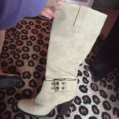 LIMITED SALE  BIEGE BOOTS Worn once, minor scruff marks on the bottoms. This is a 7.5 although I'm a 8.5 and they still fit! Shoes Heeled Boots