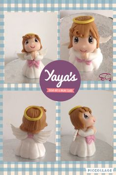 Angel cake topper by Yaya's sugar art #fondant topper #baptism cakes #first communion cakes