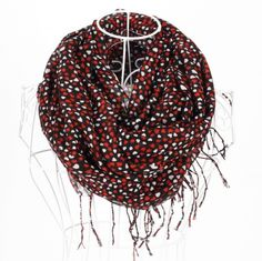 http://www.artfire.com/ext/shop/studio/bohemiantouch/1/1/10311//  Black with Red Little Heart shawl, scarf with fringes ends is a great addition to your collection of fashion accessories. Trendy and versatile. Perfect for spring to fall.