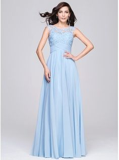 A-Line/Princess Scoop Neck Floor-Length Chiffon Evening Dress With Ruffle Beading Appliques Lace Sequins (017064187) - JJsHouse