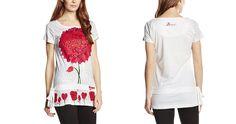 #Desigual Shirt - #Desigual Shirt - Modell Jude, Muster:  floral, exotisch und Mandala, weiß.