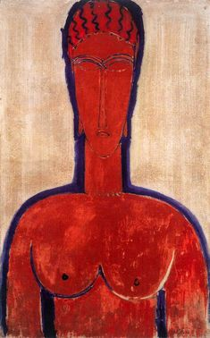 'Le grand buste rouge' (1913) by Italian painter sculptor Amedeo Modigliani (1884-1920). 81.5 x 51 cm. via lunette rouges