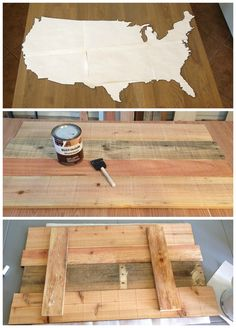 This would be awesome to hang behind the bar and paint or pin where the guests have come from DIY united states map wall décor. Wooden rustic sign and tutorial, with link to print large maps. Popular with the Poplins Pallet Crafts, Pallet Art, Wooden Map, Wooden Signs, Wooden Projects, Diy Projects, Map Wall Decor, Map Wall Art, Diy Bedroom Decor