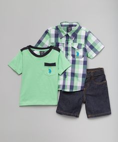 Look at this Lime Plaid Button-Up, Tee & Shorts Set - Infant, Toddler & Boys on #zulily today!