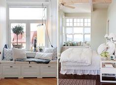 ławki pod oknem w sypialni