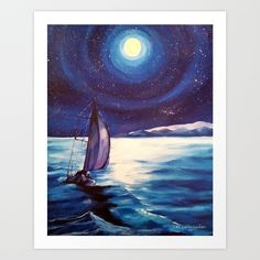 Moonlit Sail is an acrylic painting of a sailboat sailing by moonlight.  It was created in 2015 and the original has sold.  Prints are available here but also can be found in different sizes starting at $15.00 in my ETSY shop.  https://www.etsy.com/listing/237164759/moonlit-sail-original-acrylic-16x20?ref=shop_home_active_3  I do not offer clothing or any of the other unique items seen here on ETSY.  <br/> Sailing, Moonlight, Moon-lit, Night Sail, sail...