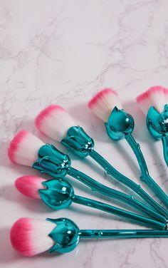Green Rose Contour Make Up Brushes Set