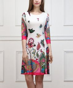 Look what I found on #zulily! White Floral Shift Dress #zulilyfinds