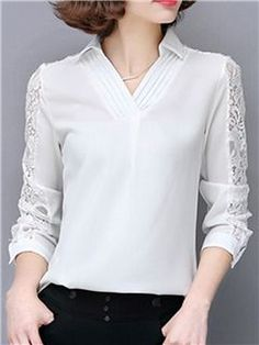 Ericdress Solid Color V-Neck Lace Patchwork Blouse Blouse Styles, Blouse Designs, Patchwork Dress, Blouse And Skirt, Work Attire, Corsage, Dress Patterns, Shirt Blouses, Blouses For Women