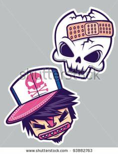 Street art skull sticker