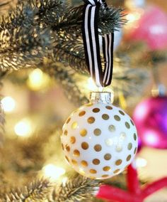take the time to hang ornaments with ribbon???  {Christmas Craft} Kate Spade Inspired Ornaments