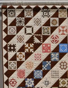 Dear Jane - Mary's Way by Mary Derthick, quilted by Robin Hill.  2014 Northwest Quilters Show.  Photo by Wonkyworld - close up.