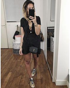 "Robe ""Carla"" #sezane (from'@sezane) • Sneakers #goldengoose . AUdrey Lombard"
