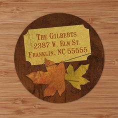 Brown Maple Leaves Custom Address Labels or Stickers by PoshGirlBoutique