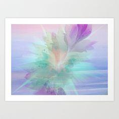 Pastel Color Burst Abstract Art Print by Judy Palkimas - $17.68