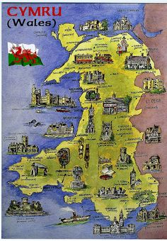 Wales Nice map Postcard of Cymru (Wales) showing Welsh castles, cathedrals and landmarks. Thanks to Phillippa of Wales. Wales has about 400 castles ~ there are more castles per head than any other country in the world ~ England Ireland, England And Scotland, London Eye, Map Of Great Britain, Britain Map, Welsh Castles, Castles In Wales, United Kingdom Map, Wales Uk