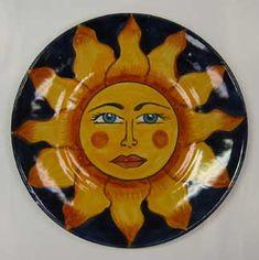 Mexican Pottery - Talavera Plate with Sun Face Design