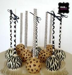 Animal print cakepops by Sugar and Spiked.  #zebra #leopard #cakepops #blingsticks #sugarandspiked