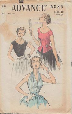 Far avanzare 6085 / Vintage anni 50 cartamodello / Halter Top camicetta camicia Peplum / Size 18 Busto 36