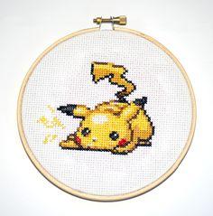 Pikachu Cross Stitch by nerdstitchshop.deviantart.com on @DeviantArt