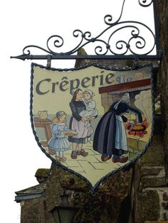 "Crêperie in Locronan, Brittany, France. I love these old ""Guild"" type signs. Hanging Lanterns, Hanging Signs, Blade Sign, Celtic, Storefront Signs, Shop Facade, Brittany France, Pub Signs, Shop Fronts"