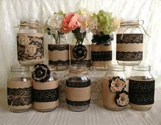 0x rustic burlap and black lace covered mason jar vases wedding decoration, bridal shower, engagement, anniversary party decor I made this adorable vases with natural color burlap and black color laces, handmade burlap and lace flowers, plastic buttons, twin bows.